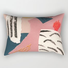 abstract collage with embroidery Rectangular Pillow