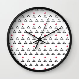 Geometrical hand painted red black watercolor triangles Wall Clock