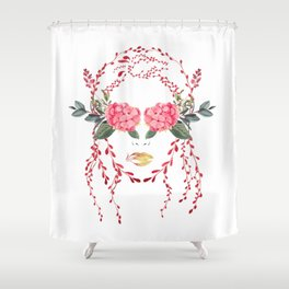 Girl With A Pretty Face Shower Curtain