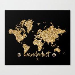 world map gold black wanderlust Canvas Print