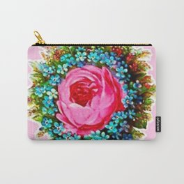 Retro Vintage Floral Bouquet Rose Carry-All Pouch