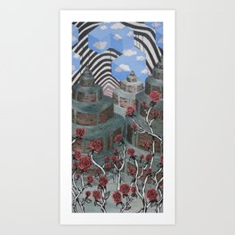Flowers, Towers, Stripes & Cubes Art Print