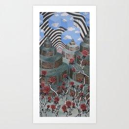 Flowers, Towers, Stripes & Cubes Art Print