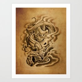 Hannya Dragon Art Print