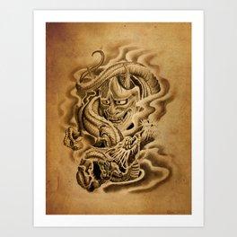 Hannya Dragon Art Print