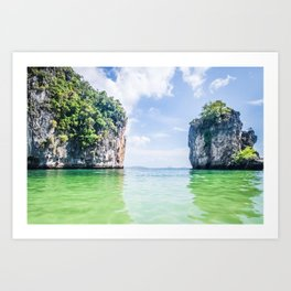 Clear Water and White Limestone Cliffs in Thailand Fine Art Print Art Print
