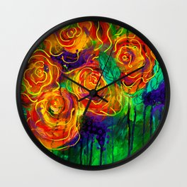Vibrant Orange Flowers Wall Clock