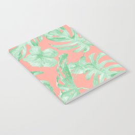 Tropical Palm Leaves Hibiscus Flowers Coral Green Notebook