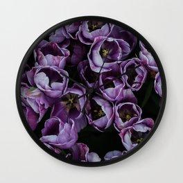Purple tulip field | Flowers, floral, flower, nature, summer, botanical, plant, photo || Travel photography art print Wall Clock