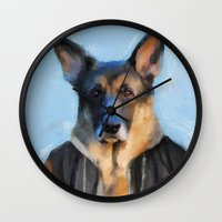german shepherd Wall Clocks featuring Chic German Shepherd by Jai Johnson