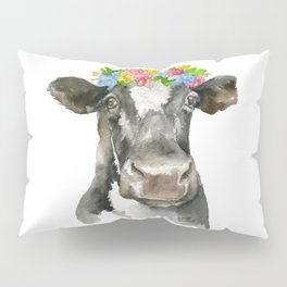 Black and White Cow with Floral Crown Watercolor Painting Pillow Sham