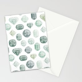Green Gemstones Stationery Cards