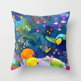 Ocean Tropical Fish Life Throw Pillow