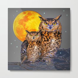 TWO OWLS IN FULL MOONSCAPE GREY NIGHT Metal Print