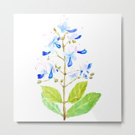 blue butterfly flowers watercolor Metal Print