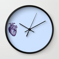 anatomical heart Wall Clocks featuring Anatomical Heart by Denise
