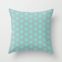 Hexagonal Dreams - Grey & Turquoise Throw Pillow