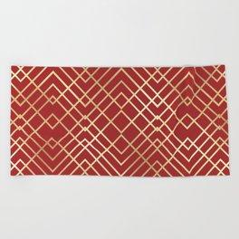 Modern Chinese Red Art Deco Geometric Pattern Beach Towel