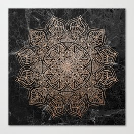 Mandala - rose gold and black marble 4 Canvas Print