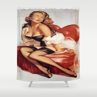 burlesque Shower Curtains featuring burlesque by Asano Kitamura