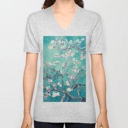 Vincent Van Gogh Almond Blossoms Turquoise Unisex V-Neck