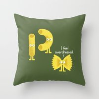 pasta Throw Pillows featuring Pasta Party by David Olenick