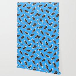 Sushi Soy Fish Pattern in Blue Wallpaper
