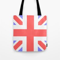 union jack Tote Bags featuring Union Jack by M Sandra