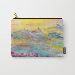Sunset in the mountains. Watercolor painting Carry-All Pouch