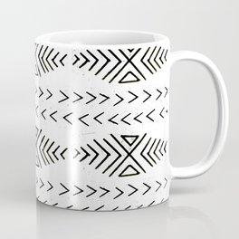 Mudcloth black and white linocut pattern geometric minimal modern trendy design Coffee Mug