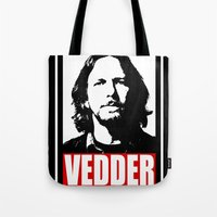 eddie vedder Tote Bags featuring Eddie Vedder by Darkside-Shirts
