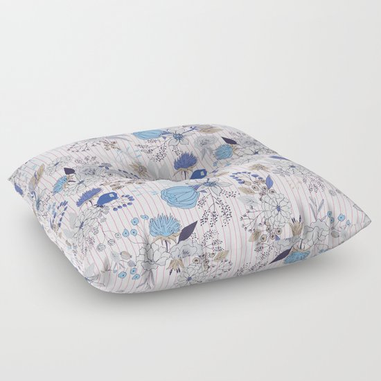 Abstract rustic navy blue gray floral pink stripes pattern Floor Pillow by Pink Water Society6