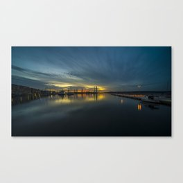 Dusk over Pula Harbour  Canvas Print