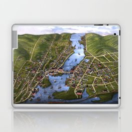 MYSTIC RIVER CONNECTICUT city old map Father Day art print Laptop & iPad Skin