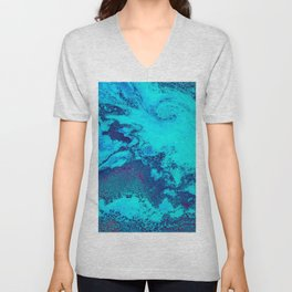 Electric Blue and Magenta Swirl (Color) Unisex V-Neck