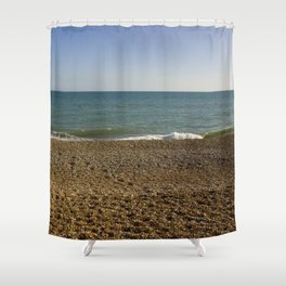 Evening Tide on a cobbled beach Shower Curtain