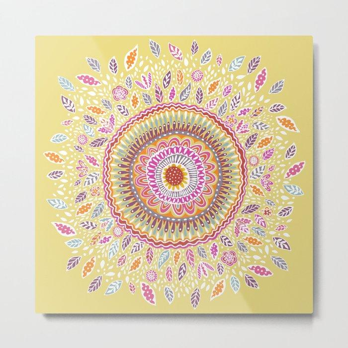 Yellow Sunflower Mandala Metal Print