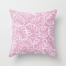 Tropical Leaves Pattern - White on Pink Throw Pillow