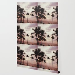 Tropical Palm Tree Pink Sunset Wallpaper