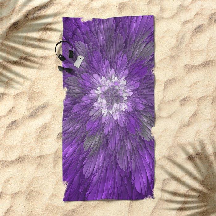Psychedelic Purple Flower, Fractal Art Beach Towel