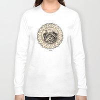 astronomy Long Sleeve T-shirts featuring Astronomy Pug by beart24