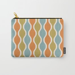 Classic Retro Ogee Pattern 842 Orange Blue and Olive Carry-All Pouch