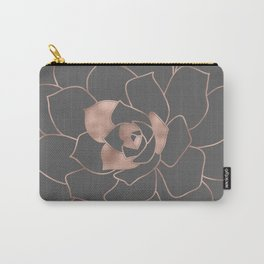 Rosegold  blossom on grey - Pink metal - effect flower Carry-All Pouch