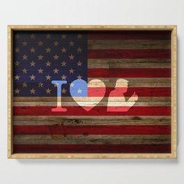 I Love Trump American Flag Serving Tray