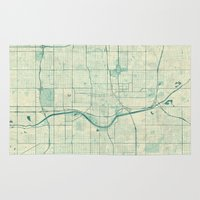 oklahoma Area & Throw Rugs featuring Oklahoma City Map Blue Vintage by City Art Posters