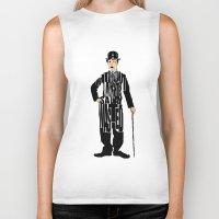 charlie chaplin Biker Tanks featuring Charlie Chaplin by Ayse Deniz