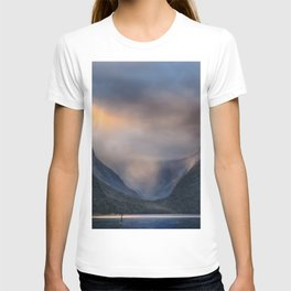 BODY OF WATER NEAR MOUNTAINS DURING DAYTIME PHOTOGRAPHY T-shirt