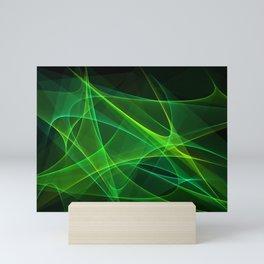 Green Laser Light Abstract Background Mini Art Print