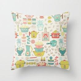 Pasta & Vintage dishes Throw Pillow