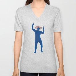 Humorous Man In Blue Bodysuit With Sombrero Unisex V-Neck